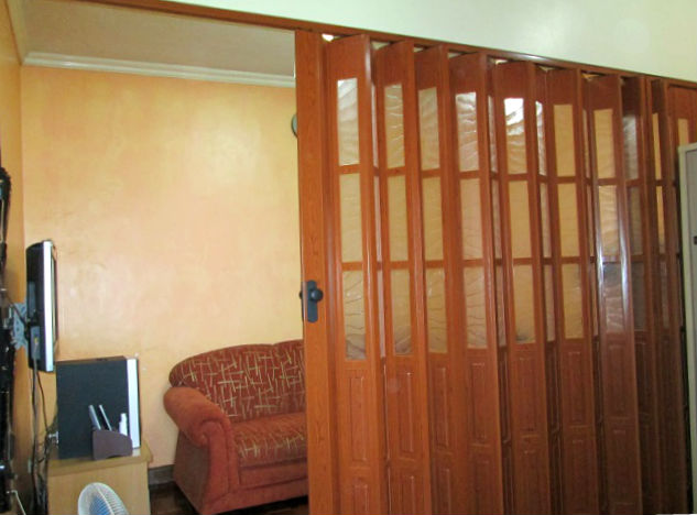 French type accordion door partition in living room for French accordion doors