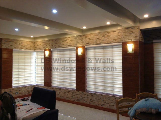 Combi Blinds As Windows Cover For Living Room Inspired By