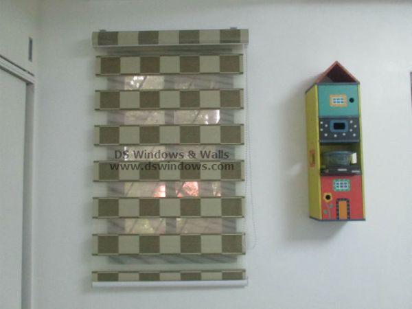 Checkered Designed Dual Shade Blinds installed  at Magallanes Village, Pasay Metro Manila