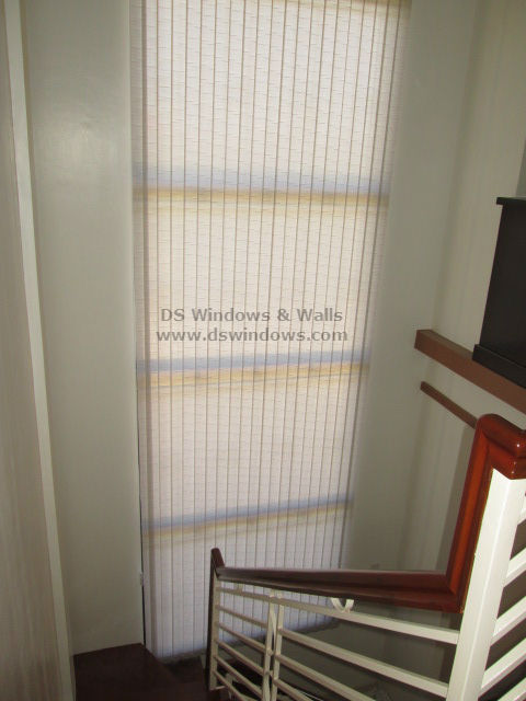 Fabric Vertical Blinds For High Ceiling Staircase Window