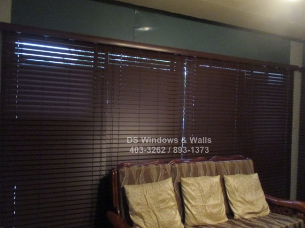 Dark colored wooden blinds