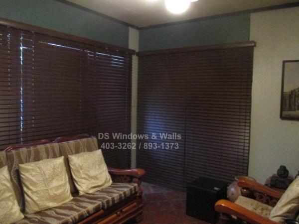 Real premium dark colored wood blinds installation in Makati city