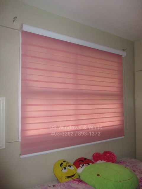 Pink blinds for girls room - Las Pinas installation
