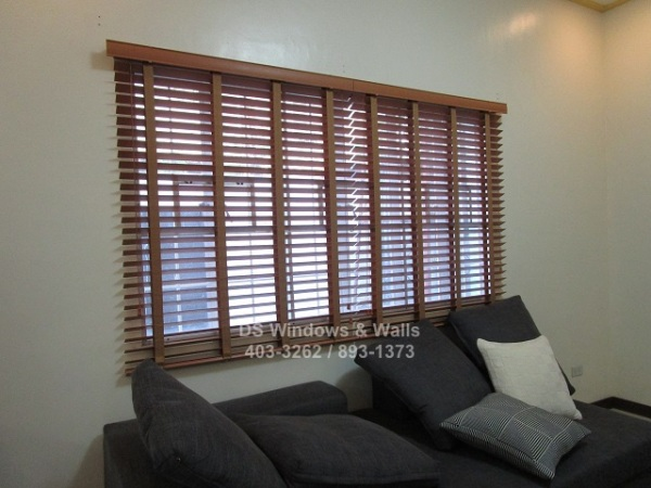 Brown wood blinds with ladder tape
