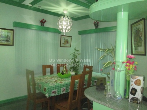 Green theme dining room PVC vertical blinds