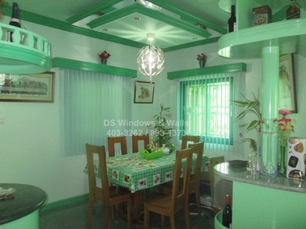 PVC vertical blinds green theme dining room